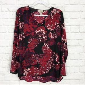 LOFT Factory Vegan Leather Floral Long Sleeve Top